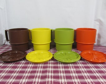 Vintage Tupperware Stacking Coffee Mugs and Coasters