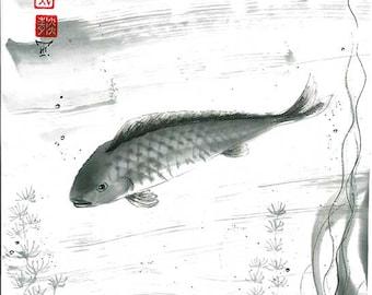 """Original Sumi-e Brush Painting """"Fish"""" - Japanese art - bamboo brash on rice paper - drawing from AnimaAllegra"""