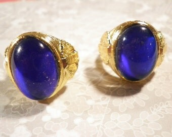 2 His and Her's Gold Plated 70s Mood Stone Rings