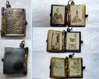 Antique french  Religious Catholic Book  Locket Souvenir   Collectible old Pendant Charm Ms1