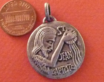 Vintage  French Medal St John the Baptist   signed Jean Balme / Philippe  Chambault Pendant Old  Charm Jewelry JV1:2
