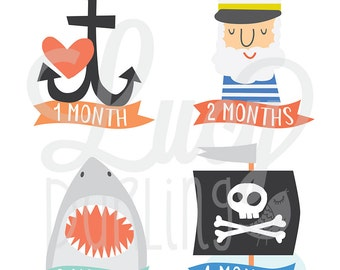 Baby Monthly Stickers- Captain- Baby Boy Monthly Stickers- Nautical Baby Monthly Stickers- Milestone Stickers- Bodysuit Stickers- Set of 12