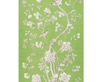 SCHUMACHER CHINOISERIE Exotic Birds Cherry Blossoms Drapery Panel Fabric 1 Celadon