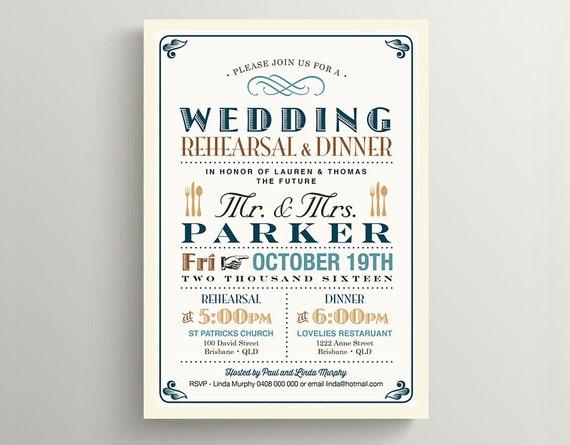 Printable Wedding Rehearsal Dinner Invitation \\ Vintage Poster design in Teal, Brown & Burlap \\ Rustic Wedding (RD19)