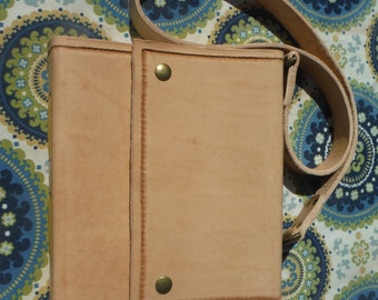 500pg Large Leather Travel Journal/Sketchbook, premium leather book, log, hiking journal, undyed with strap
