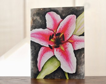 Stargazer Lily notecards, Floral stationery, Watercolor notecards, watercolor lily, personal stationery, art reprints, gardening notecards