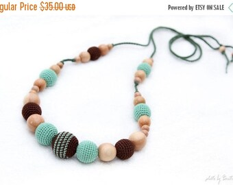 SALE 25% off Nursing necklace Pistachio green and Brown Juniper mom Nursing necklace - breastfeeding/teething toy. crochet sling necklace.