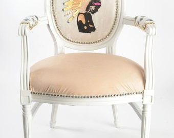 French Louis XVI Armchair Boho Chic dining chair painted white upholstered in leather with pink, black, gold and cobalt blue leather