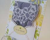 Stunning Daffodils Vintage Handkerchief Yellow Grey You Are Special Friendship Thinking Of You Graduation Hanky Keepsake Greeting Card