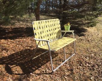 1960's Sunshine Mid Century Lawn Chair Double Webbed Aluminum Lawn Chair Lawn Chair Love Seat
