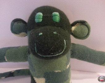 Camo Sock Monkey Camouflage Green Army Soft Doll Handmade