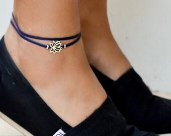 Lotus wrapped anklet, blue ankle bracelet with silver lotus charm, buddhist symbol, zen, flower, yoga bracelet, spiritual jewelry, flower