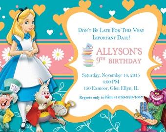 Printable Alice in Wonderland Invite