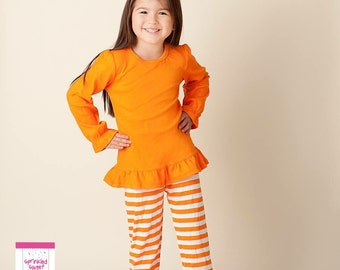 Big Ruffle Orange White Stripe Girls Pants Perfect for Thanksgiving Football Cute Matches Applique Shirts