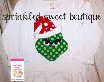 Monogram Christmas Grinch with Polka Dot Hat Girls or Boys Applique Holiday Shirt Cute Dr. Seuss First Christmas or Birthday Shirt Onesie