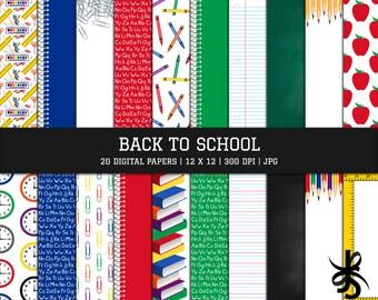 Digital Scrapbook Papers-Back to School-Classroom-Teacher-School Supplies-Apples-Chalkboard-Paper Clips-Background-Instant Download Clip Art