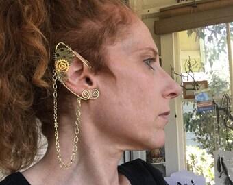 Elf Ears, Steampunk Elf Ears, Fairy Ears, Earcuffs, Wire Wrapped Earcuffs, Steampunk Jewelry, Burner