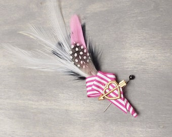 Feather and Heart Black and Pink Boutonniere , Corsage, Lapel pin, Everlasting Keepsake