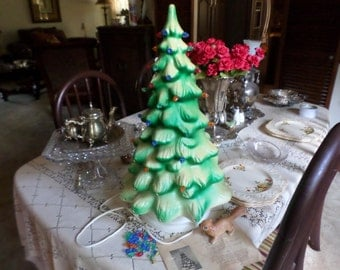 """Vintage Sturdy Lightweight Resin 20"""" Tall Electrified Christmas Tree/Colored Glow Lights-Holiday Lighting Decoration"""