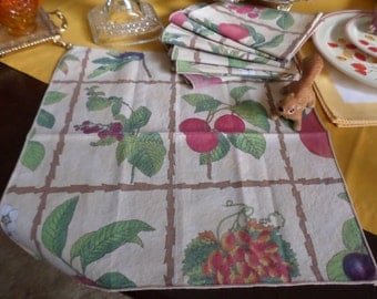 """8-Gorgeous Taupe with Colorful Fruits & Flowers Cotton/Linen/Fabric Dinner Napkins-15"""" x 15""""-Cherry/Grape/Plum"""