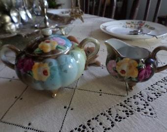 Stunning Vintage Bisque Porcelain Colorful Vivid Floral Spray Creamer & Sugar Set