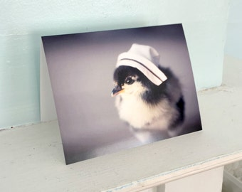 Greeting Card Chick in A Miniature Nurse Cap Get Well Soon Card Nursing Stationary (1) #61