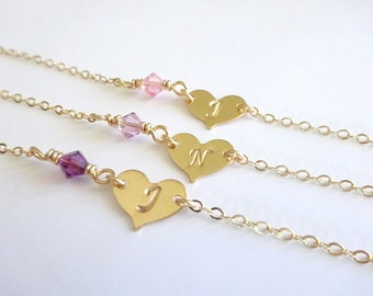 Bridesmaids Ankle Bracelet, Bridesmaids Anklets, Birthstone Anklet Gold Anklet, Heart Custom Personalized Bridesmaids Jewelry Initial Anklet