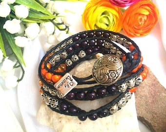 Orange, Silver and Black tones 3 X Wrap Bracelet with Silver ornate button - One size