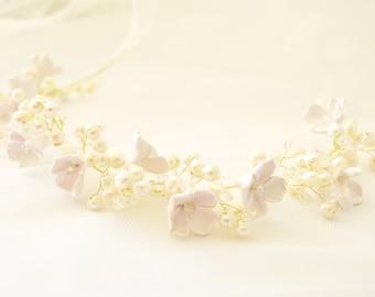 Pearl hair vine Bridal headpiece Wedding headpiece Pearl flower crown Bridal headband Pearl crown