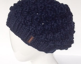 Hand Knit Hat, Bobble Hat, Slouchy Hat, Winter Hat, Women's Accessories, Navy, Blue, Christmas Gifts, Gifts under 30