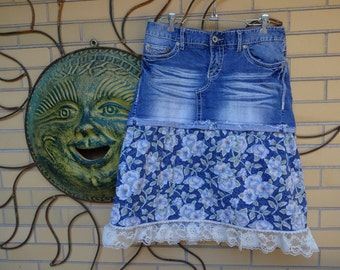 Up-cycled Denim Country Cowgirl Skirt size 7/8