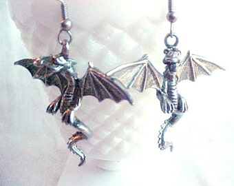 Vintage Dragon Earrings - Silvertone Flying Two-Legged Dragons - Silvery Pierced Dragon Sculpture Art - Game of Thrones Fantasy Jewelry