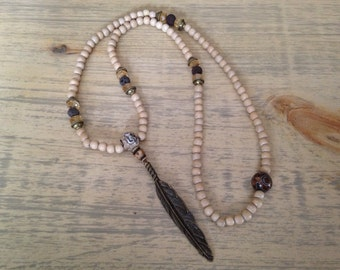 Boho Gypsy Beaded Necklace 108 Mala Meditation Beads with Feather Pendant