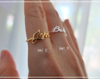 20% off // Font 32 // Personalized name ring - Any size - Yellow , White, Rose gold, Silver plated and Brass - Gift box included-Christmas