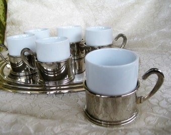 Silverplate Demistasse Set Tray and 6 cups  Very good with one minor flaw