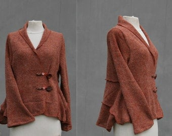Orange short patchwork cardigan, Size M/L, brown cardigan, upcycled wool,  wrap cardigan, patchwork, hippie, boho, eco friendly woman