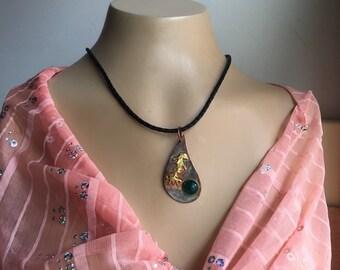 Ala Matisse multi color pendant with luminous jade cabochon