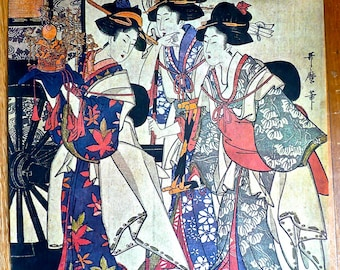 Vintage Screen Print - Oriental Theme Picture - Geisha Girls - Japanese Women in Costume -Traditional Oriental Fashions - Japanese Ceremony