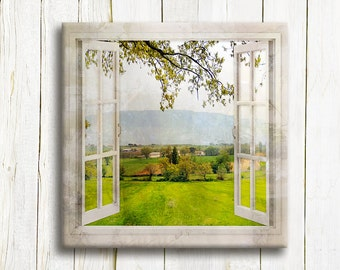 Window view of a Tuscany Landscape art printed on canvas - Housewarming gift - Home decor