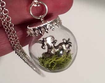 Magical Unicorn, Pet unicorn in a glass globe with sterling silver 30 inch chain
