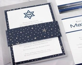 Bar Mitzvah Invitations - Star of David Invitations - Silver Stars Bar Mitzvah - Star of David Bar Mitzvah - Handmade Invitations