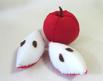 Felt Play Food, Felt Food,  Apple, Felt Fruit, Fruit Soft Toy, Play Food Set