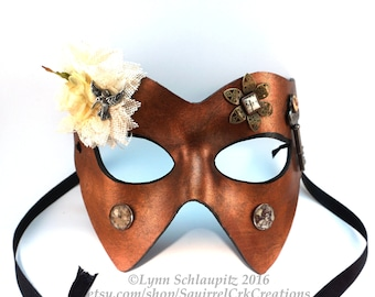 Leather Steampunk Masquerade Mask in Antique Copper, cosplay, renaissance, rave,  theatre, masked ball, masquerade, halloween, mardi gras