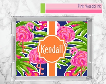 Flamingo Lucite Tray Monogrammed Lucite Tray Personalized Acrylic Tray Custom Serving Tray