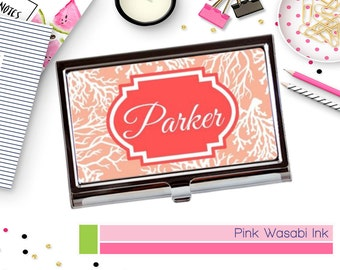 Custom Business Card Holder Monogrammed Business Card Case Personalized Coral Card Holder Choose Colors