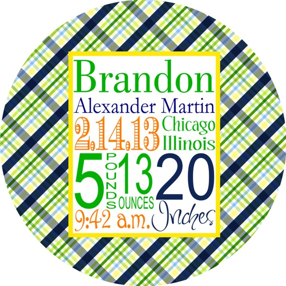 Personalized Birth Announcement Plate, Melamine Plate Baby Boy, Personalized Baptism Gift, First Birthday Gift