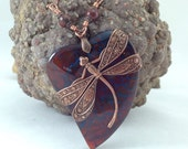 RESERVED FOR LENA - Dragonfly wrapped gemstone, dragonv vein agate heart pendant, dragonfly jewelry, boho style