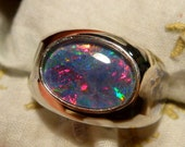 Mens Opal Ring Sterling Silver, Natural Opal Triplet. 14x10mm Oval . item 110036.