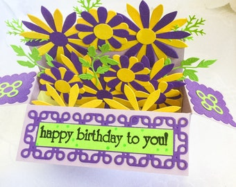 Fancy Handmade Pop Up box cards - Mothers Day card - Thank you - Birthday cards - Flower cards - Blue - Lilac - Yellow - red - purple