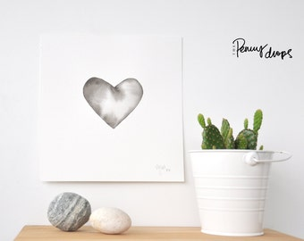 Watercolor heart, original painting, black heart,  love heart, gift for her, first anniversary gift, wedding anniversary gift
